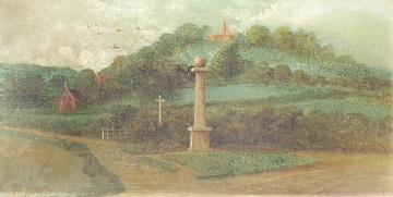A Victorian view of West Wycombe Pedestal, Mausoleum and Church